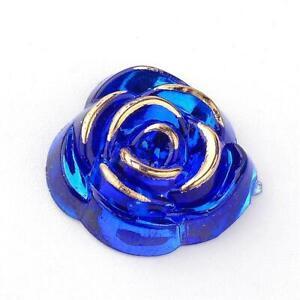 5 Rose Cabochons Acrylic Flatbacks Floral Flat Backs Blue Gold Metal Enlaced