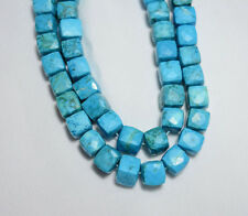 9MM Howlite Turquoise Faceted Box Shape Gemstone Beads 10 Inch Strand