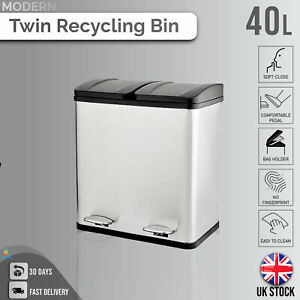 Double Recycling Pedal Bin Twin Compartment Modern Kitchen Rubbish/Waste - 40L