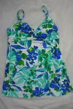 Island Escape Swimdress Sz 14 Blue Multi Twist Front One Piece Swimsuit R760995