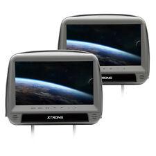 """REPOSACABEZAS DVD 9"""" COCHE LCD HDMI USB SD ALTAVOCES TAPA GRIS"""