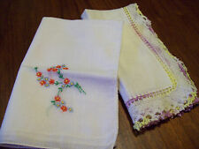 Two Vintage Handkerchiefs one Embroidered the other trimmed in lace and crochet