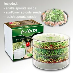 THREE LEVELS SEED SPROUTER GERMINATOR FOR BEANS & SEEDS/Healthy, Organic Sprouts