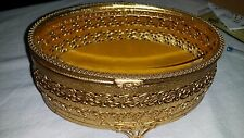 Vintage Beveled Glass Gold Filigree Jewelry Box Casket Velvet Lined