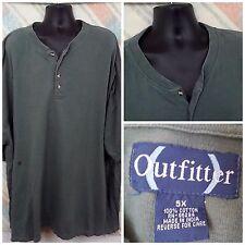 Outfitter 5X Henley Short Sleeve Muted Green 100% Cotton    D46