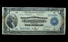 1918 $1 FEDERAL RESERVE NATIONAL BANK NOTE ✪ MINNEAPOLIS ✪ VF VERY FINE◢TRUSTED◣