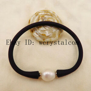 Black Elastic Silicone Rubber Leather Band White Pearl Bracelet