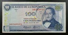 COLOMBIA BANKNOTE 100 Pesos Oro, Pick 410c VF+ 1971
