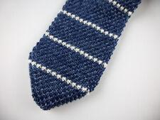BROOKS BROTHERS Knit Tie Slim Blue White Stripe Silk NWT New