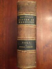 RARE 1870 System of Medicine, General Diseases, REYNOLDS, Medical Doctor, 1st ed