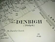 Old Antique Ordnance Map 1912 Denbighshire XIII.4 Dinbych (Denbigh Town) ...