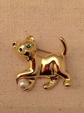 Vintage Gold Tone Cat with Faux Pearl & Green Rhinestone Brooch Pin.