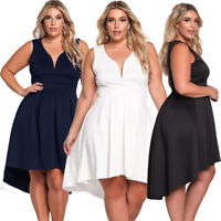 Women's Casual Dresses Plus Size Evening Cocktail Sleeveless V Neck Hi-lo Skirt