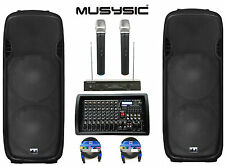 """Complete Professional 4500W PA System 8-CH Mixer Dual 15"""" Speakers Wireless Mics"""