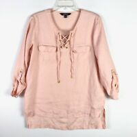 Company Ellen Tracy Peach Pink Linen Lace Up Tunic Boxy Blouse - Medium M