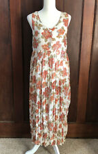 Vintage Contempo Casuals Long Floral Baby Doll Dress Sheer Size M