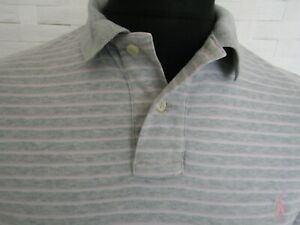 Polo By Ralph Lauren Short Sleeve Grey Stripe Cotton Custom Fit Polo Shirt Large