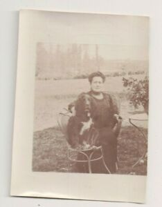 Vintage Photo 2.5 x 3.5 Inch Trimmed Old Lady & Her Dog