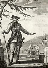 Blackbeard Pirate & Treasure Ship. Prints of vintage 18c b&w engraving