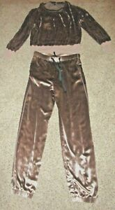 rag and bone new york silky velour 2pc track suit athletic jogger pants and top
