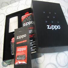 Zippo GIFT SET fluid Lighter Flints Flint Wick Wicks Street Chrome Matte
