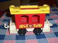 Fisher Price 1973 Circus Train Car Red White Yellow