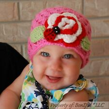 BonEful RTS NEW Boutique Girl Pink Flower Crochet 18 24 M 2 3 Baby Hat Lady*bug