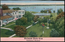 CHARLESTOWN MD Wellwood Yacht Club Vintage Linen Postcard Old Maryland PC
