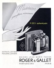 PUBLICITE ROGER GALLET PARFUM MISSIVE MAISON JEAN MARIE FARINA DE 1933 FRENCH AD