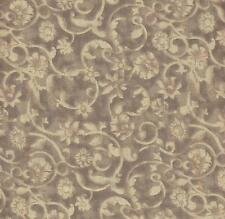 COTTON QUILT FABRIC: 47520-707TS  TAN FLORAL TONAL SCROLL BY THE YARD
