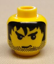 x1 NEW Lego Yellow Minifig Head Male Stubble Black Messy Hair CITY TOWN CASTLE