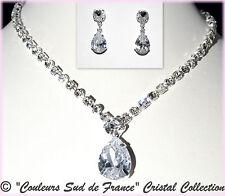 """Parure de bijoux soir cristal mariage miss collier boucles d'oreilles """"goutte"""""""