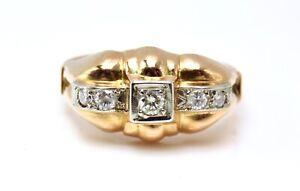 Fine Art-Deco French Diamonds 0.38ct. Rose Gold 18k.UK Ring Size M