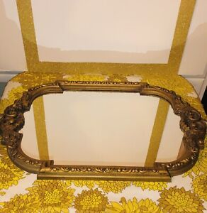 Vintage Wall Mirror Oval Gold Ornate Plastic Ready To Hang 24x16""