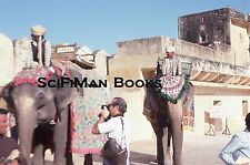 KODACHROME 35mm Slide India Jaipur Amber Amer Elephants Men Camera Costume 1976!