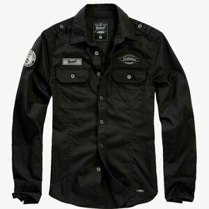 Brandit Luis Herren Hemd Langarm Hemd  Men Vintage Shirts Freizeit Hemd schwarz