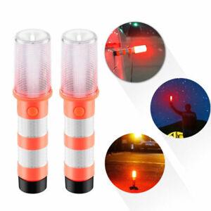 2 LED Emergency Road Flares Red Roadside Beacon Safety Strobe Light Warning Sign