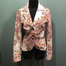 Stradivarius Women's Pink Lavender Floral Two Button Cotton Blazer Jacket M Euc