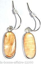 BOUCLES D'OREILLES FANTAISIE PENDANTE perle métal ovale orange soirée mode