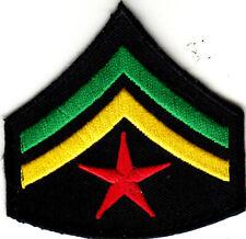 RASTA ARMY STAR AND STRIPES Iron On Patch Jamacia Rasta Reggae Jamaican Biker