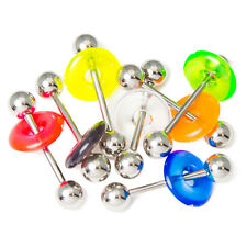 7 Pack 14ga Tongue / Nipple Bars with Acrylic Doughnuts - Assorted Colors