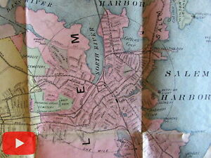 Salem Marblehead Peabody Danvers 1897 lg. folding map Essex County Mass.