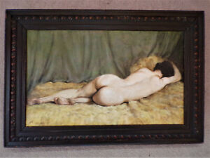 VINTAGE PAINTING OF A RECLINING NUDE ON CANVAS ANTIQUE