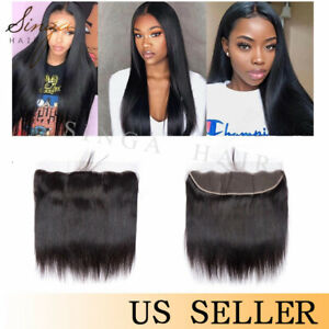 13x4 Transparent Lace Frontal Closure Brazilian Straight 100% Human Hair Frontal