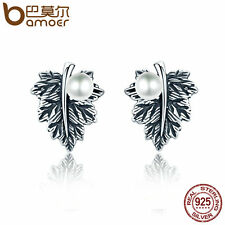 Bamoer S925 Sterling Thai silver Earrings Retro Maple leaves With Pearls Jewelry