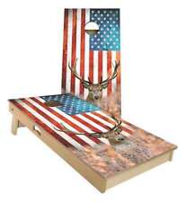 American Flag Deer Cornhole Boards - 2 Sizes + Many Options Available