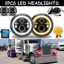 7inch LED H6024 Round DRL FOG Headlights H4 H13 Hi/Lo Beam For Peterbilt 379 359