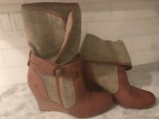 Womens Frye Tan/Brown Canvas Corby strap PT Foldover Wedge Boot Sz 8.5