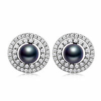 Fashion Galaxy Design Black Pearl White Gold Filled Stud Women Silver Earrings