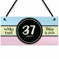 Baby Due Countdown Chalkboard Pregnancy Gift Hanging Plaque Birth Boy Girl Sign